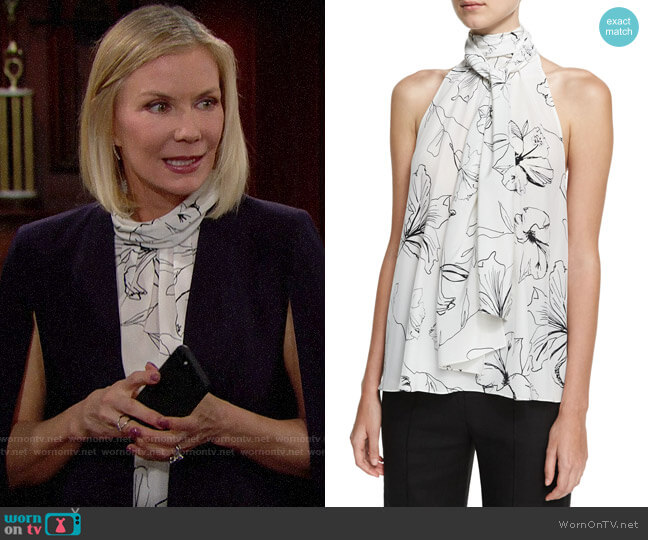 Diane von Furstenberg Print Silk High Neck Blouse by Diane von Furstenberg worn by Brooke Logan (Katherine Kelly Lang) on The Bold & the Beautiful