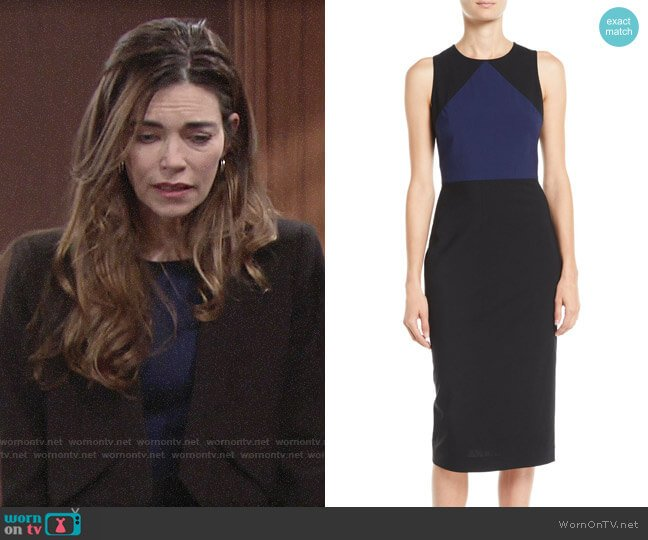 Diane von Furstenberg Sleeveless Tailored Colorblock Midi Dress worn by Victoria Newman (Amelia Heinle) on The Young & the Restless