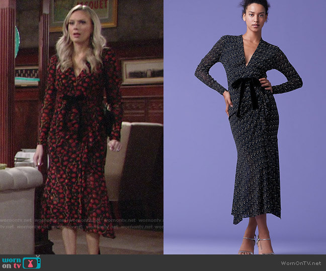 Diane von Furstenberg Crystal Dress in Dragon Berry worn by Abby Newman (Melissa Ordway) on The Young & the Restless