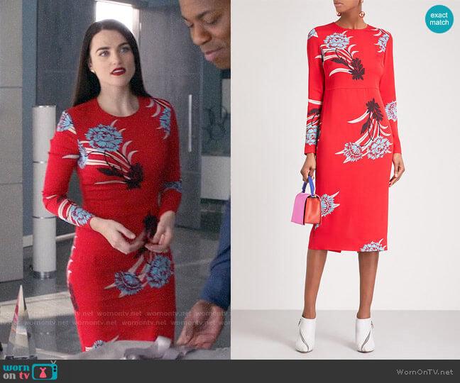 Diane von Furstenberg  Floral Sheath Dress worn by Lena Luthor (Katie McGrath) on Supergirl