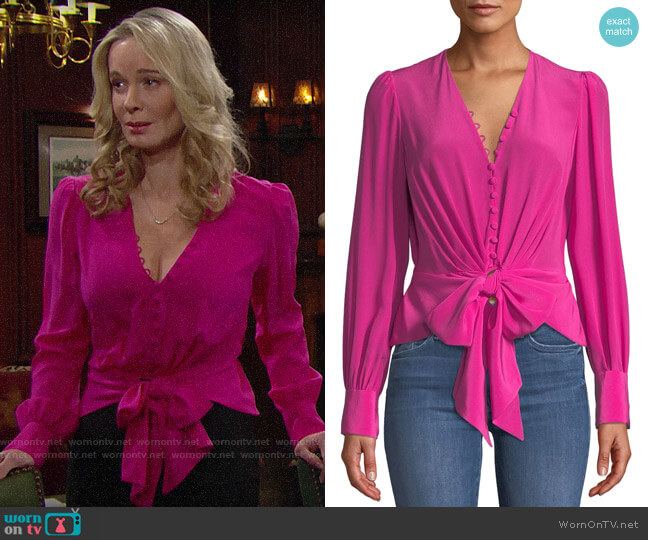 Diane von Furstenberg Julianna Tie-Front Top worn by Donna Logan (Jennifer Gareis) on The Bold & the Beautiful