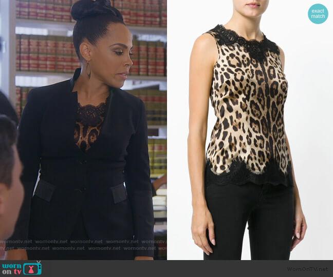 Lace Trim Leopard Print Vest by Dolce & Gabbana worn by Tegan Price (Amirah Vann) on HTGAWM