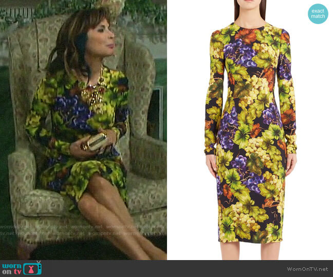 Dolce & Gabbana Grape Print Cady Body-Con Dress worn by Kate Roberts (Lauren Koslow) on Days of our Lives