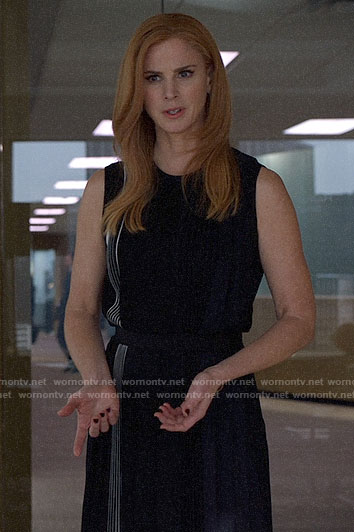 Donna's black side stripe dress on Suits
