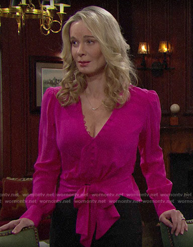 Donna's pink tie-front blouse on The Bold and the Beautiful
