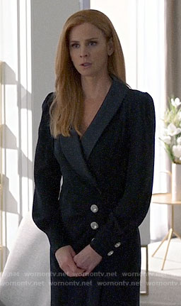Donna's black wrap maxi dress with crystal buttons on Suits