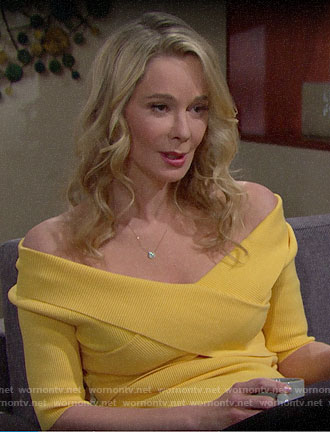 Donna's yellow off-shoulder top on The Bold and the Beautiful