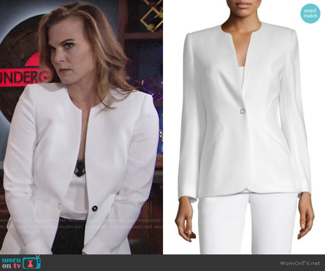 Elie Tahari Allegra Front-Snap Jacket worn by Phyllis Newman (Gina Tognoni) on The Young & the Restless