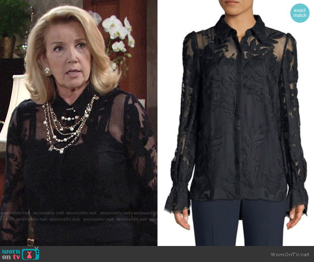 Elie Tahari Stargazer Jayda Blouse worn by Nikki Reed Newman (Melody Thomas-Scott) on The Young & the Restless