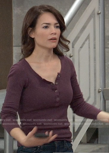Elizabeth's purple henley tee on General Hospital