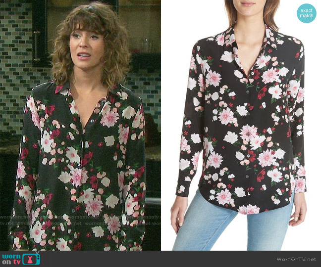 Equipment Floral Essential Silk  Shirt worn by Sarah Horton (Linsey Godfrey) on Days of our Lives