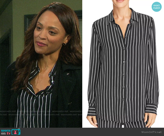 Equipment Essential Striped Silk Shirt worn by Lani Price (Sal Stowers) on Days of our Lives