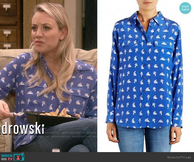 Equipment Nautical Blue Bunny Print Signature Shirt worn by Penny Hofstadter (Kaley Cuoco) on The Big Bang Theory