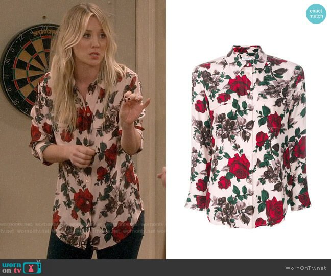 Equipment Rose Print Shirt worn by Penny Hofstadter (Kaley Cuoco) on The Big Bang Theory