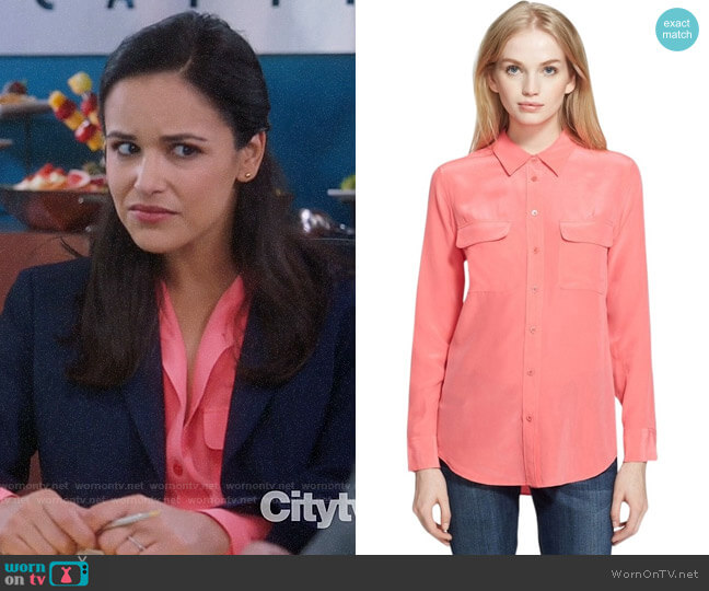 Equipment Watermelon Slim Signature Silk Shirt worn by Amy Santiago (Melissa Fumero) on Brooklyn Nine-Nine