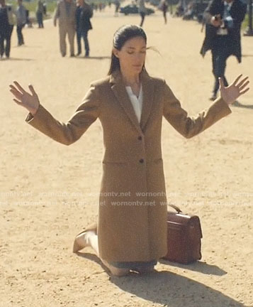 Erica's camel coat on The Enemy Within