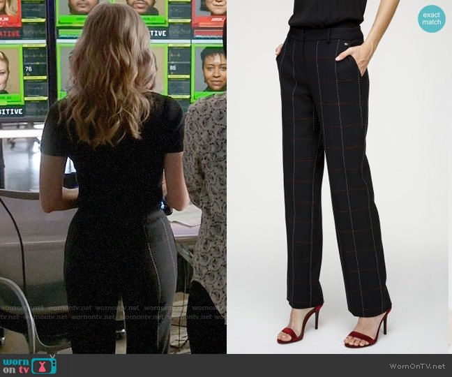 Escada Wool Cotton Checked Pants  worn by Marissa Morgan (Geneva Carr) on Bull