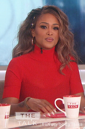 Eve's red short sleeve knit sweater on The Talk