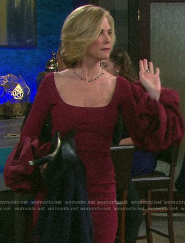 Eve's burgundy puff-sleeve dress on Days of our Lives