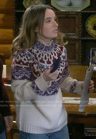 Eve's fair isle sweater on Last Man Standing