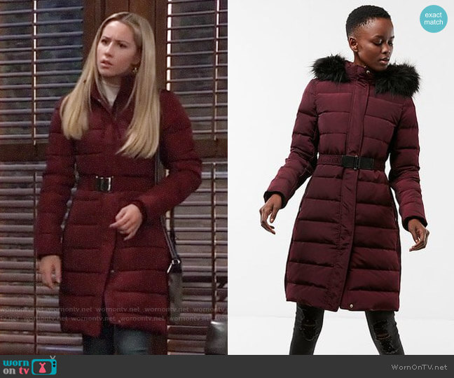 804200083 WornOnTV: Josslyn's red belted puffer coat on General Hospital ...