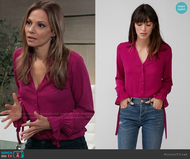Express Slim Fit No Pocket Cinched Cuff Portofino Shirt worn by Kim Nero (Tamara Braun) on General Hospital