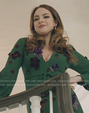 Fallon's green floral applique gown on Dynasty