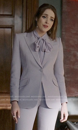 Fallon's lilac purple suit and tie neck blouse on Dynasty