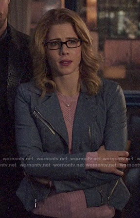 Felicity's blue moto jacket on Arrow