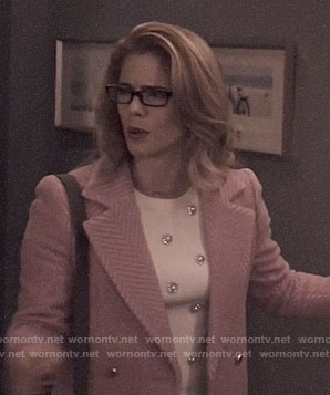 Felicity's pink chevron coat on Arrow