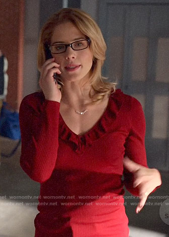 Felicity's red ruffle trim sweater on Arrow