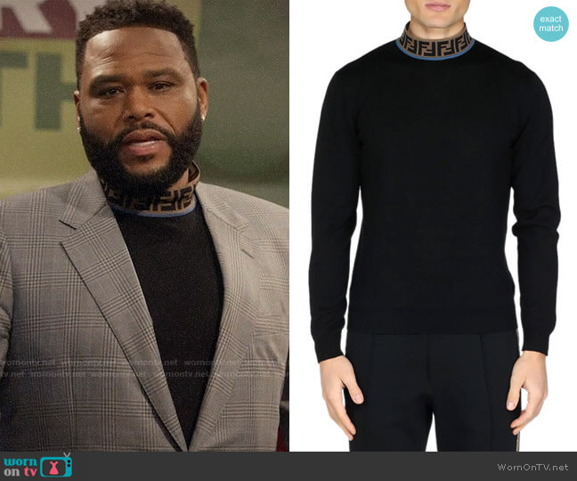 Fendi FF Mock-Neck Fleece Sweater worn by Andre Johnson (Anthony Anderson) on Blackish