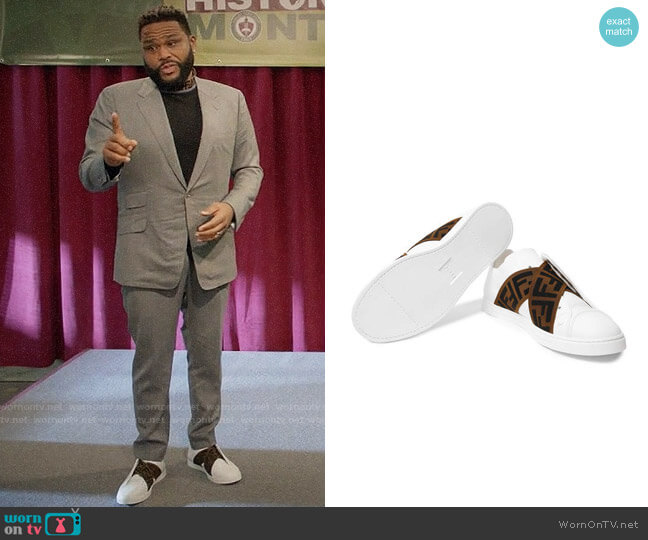 Fendi Reloaded Logo-Trimmed Slip-On Sneakers worn by Andre Johnson (Anthony Anderson) on Blackish