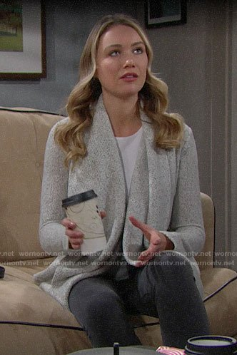 Flo's grey draped front cardigan on The Bold and the Beautiful