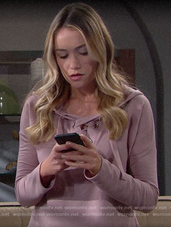 Flo's pink lace-up hoodie on The Bold and the Beautiful
