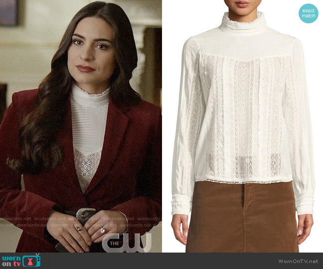 Frame Embroidered Lace High-Neck Blouse worn by Cristal Jennings (Ana Brenda Contreras) on Dynasty
