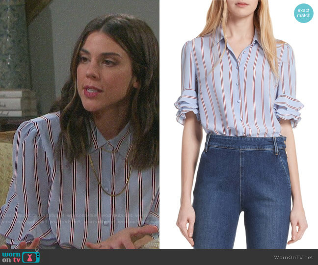 Frame Ruffle Sleeve Silk Blouse worn by Abigail Deveraux (Kate Mansi) on Days of our Lives
