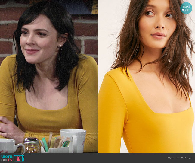 Free People Truth Or Square Bodysuit worn by Tessa Porter (Cait Fairbanks) on The Young & the Restless