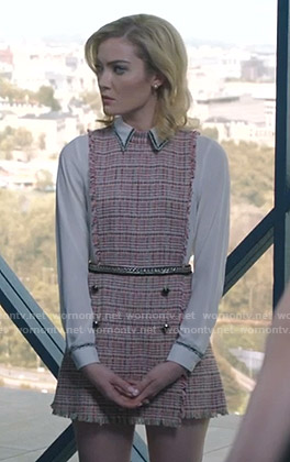 The Frost Sisters's pink tweed mini dress on The Gifted