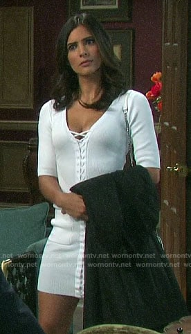 Gabi's white lace-up front dress on Days of our Lives