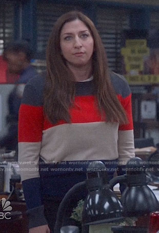 Gina's colorblock sweater on Brooklyn Nine-Nine