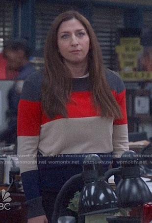 Gina's colorblock sweater on Brooklyn Nine-Nine