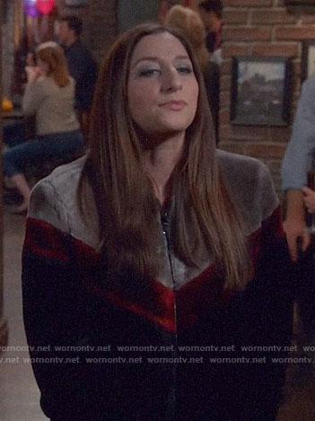 Gina's fur colorblock jacket on Brooklyn Nine-Nine