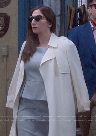 Gina's grey peplum dress and white coat on Brooklyn Nine-Nine