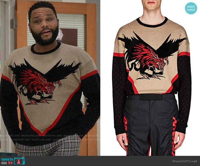 Givenchy Dragon-Motif Wool-Blend Sweater worn by Andre Johnson (Anthony Anderson) on Blackish
