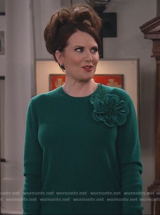 Karen's green floral applique sweater on Will and Grace