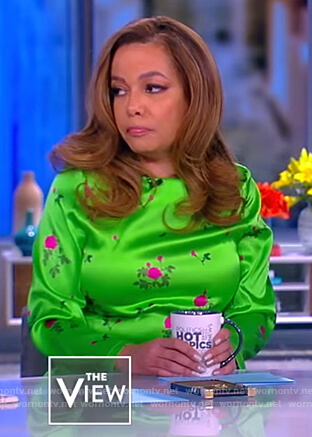 Sunny's green floral satin dress on The View