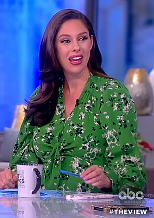 Abby's green floral tie front dress on The View