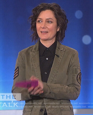 Sara's green military patch jacket on The Talk