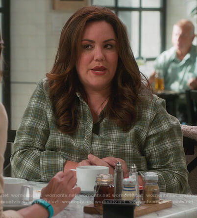 Katie's green plaid blouse on American Housewife